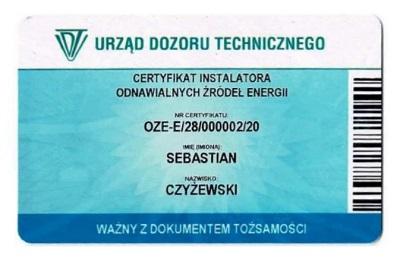 certyfikat instalatora odnawialnych źródeł energii